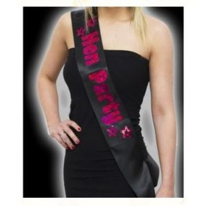 Kaamastra Black Hen Party Sash with Hot Pink Foil