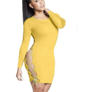Kaamastra Yellow Sexy Side Lace Bodycon Dress-QC9209 at Kaamastra
