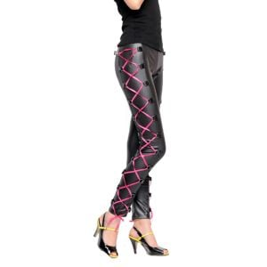 Kaamastra Black Leather Pants with Criss-Cross Lacs-QC13265 at Kaamastra