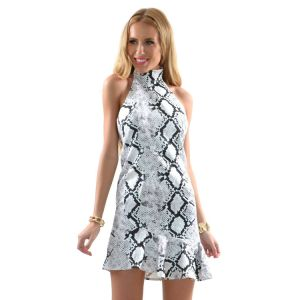 Kaamastra High Neck SIlver Sheen Mini Dress-QC9606 at Kaamastra