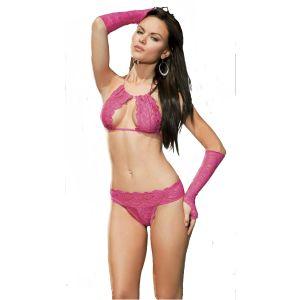 Kaamastra Pink Lingerie Set with Gloves-K-270010 at Kaamastra