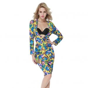 Kaamastra Deep Cleavage Bodycon Dress-QC9437 at Kaamastra