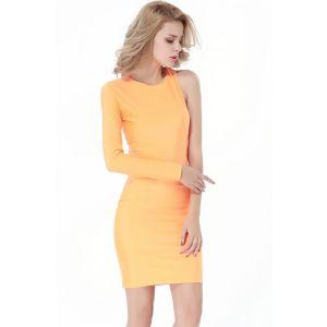 Kaamastra One Sleeve Bold Bandage Dress- Orange-QC9155 at Kaamastra