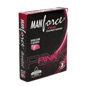ManForce Pink Bubblegum Flavoured Pack Of 3 Condoms.-BCMFPBM3 at Kaamastra