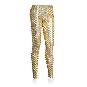 Kaamastra Chad Punched Leggings Gold-Q2ILF1047GD at Kaamastra