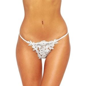 Kaamastra White Lace Crochet Lined Sexy Thong-LC75089-1 at Kaamastra