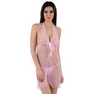 Kaamastra Pink Lace see Through Nightwear Baby Doll-BD-XL011PK at Kaamastra