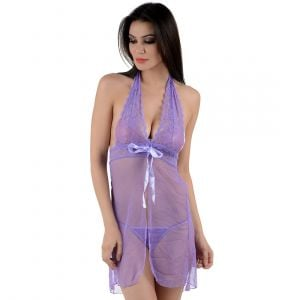 Kaamastra Purple Lace see Through Nightwear Baby Doll-BD-XL011PP at Kaamastra
