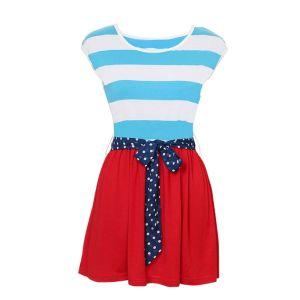 Kaamastra Red Round Neck Sleeveless Stripe Dress