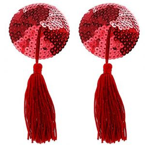 Kaamastra Red Sweetheart Sequin Pasties With Tassel