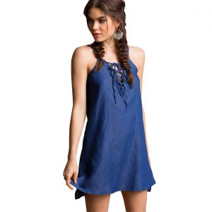 Kaamastra Denim Blue Strappy casual Top for Women