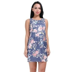 Kaamastra Floral Printed sexy Round Neck Shift Dress for Women