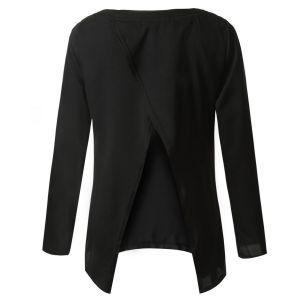 Kaamastra Black Open Back Middle Sleeve Summer Top