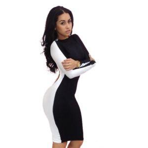 Kaamastra Sexy Black White Club Bodycon Dress