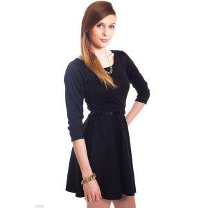 Kaamastra Black Plain Belted Skater Dress