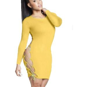 Kaamastra Yellow Sexy Side Lace Bodycon Dress