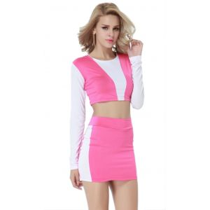 Kaamastra Pink and White Sides Bandage Dress