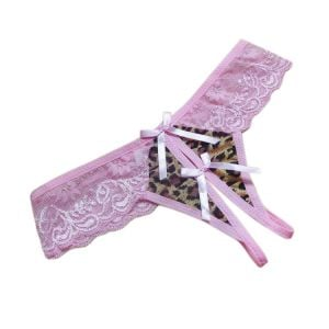 Kaamastra Pink leopard Crotchless thong